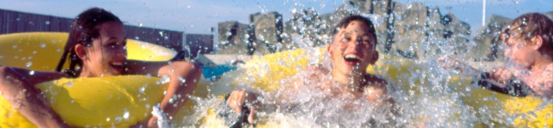Kids splashing around in the wave pool