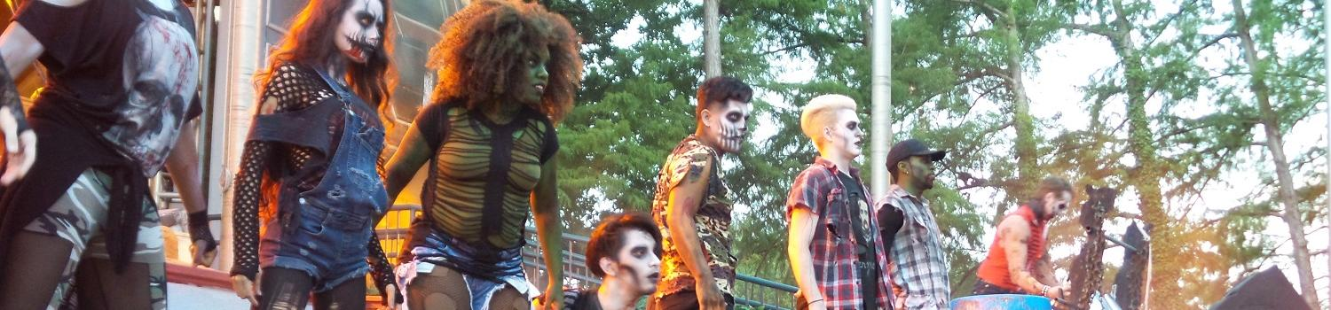 Ghouls, ghosts and goblins assemble on the stage for the start of Fright Fest