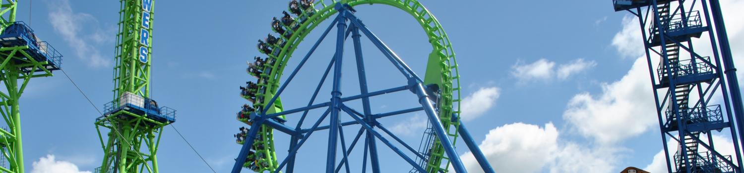 Goliath soars through its massive vertical loop at Six Flags New England