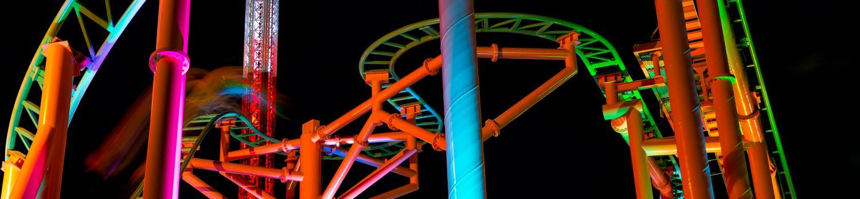 Pandemonium at night at Six Flags New England
