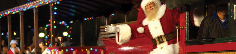 Santa waving from train