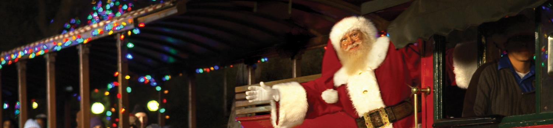 Santa on a train waving