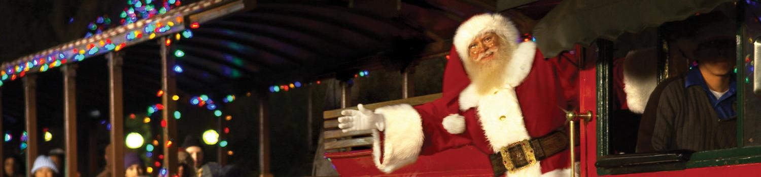 Santa on a train waving