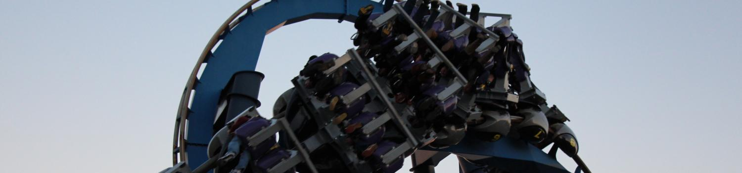 Batman the Ride at Night for Holiday in the Park
