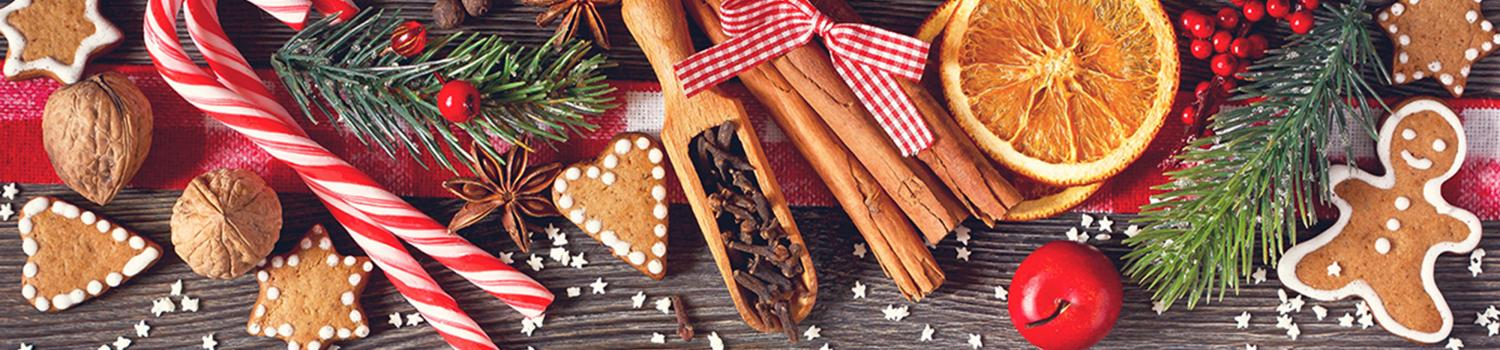 Candy canes and a variety of holiday food