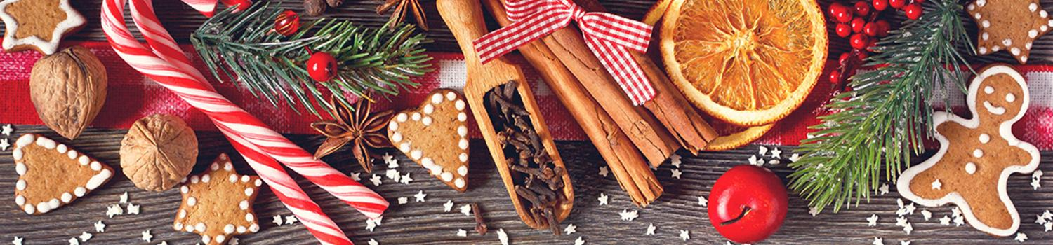 Candy canes and a variety of holiday foods