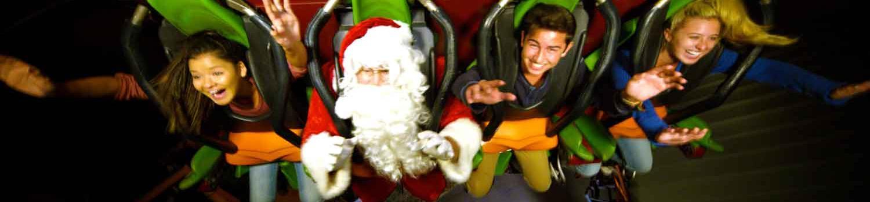 Santa and guests riding Tatsu