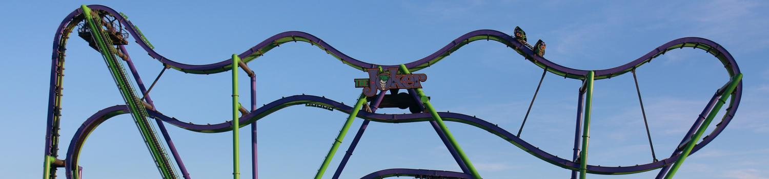 An overview of THE JOKER roller coaster from the side