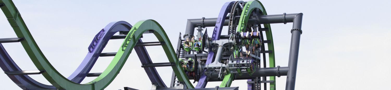 The Joker roller coaster going down the first hill