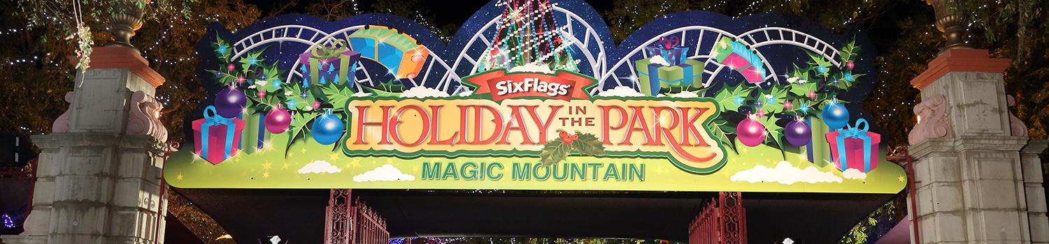 Main gate entrance decorated for the holidays