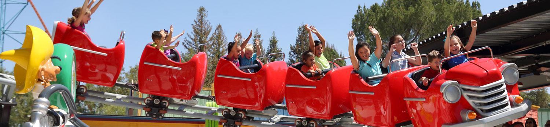 Kids riding Speedy Gonzales Hot Rod Racer