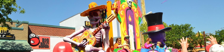 Mardi Gras float at Six Flags