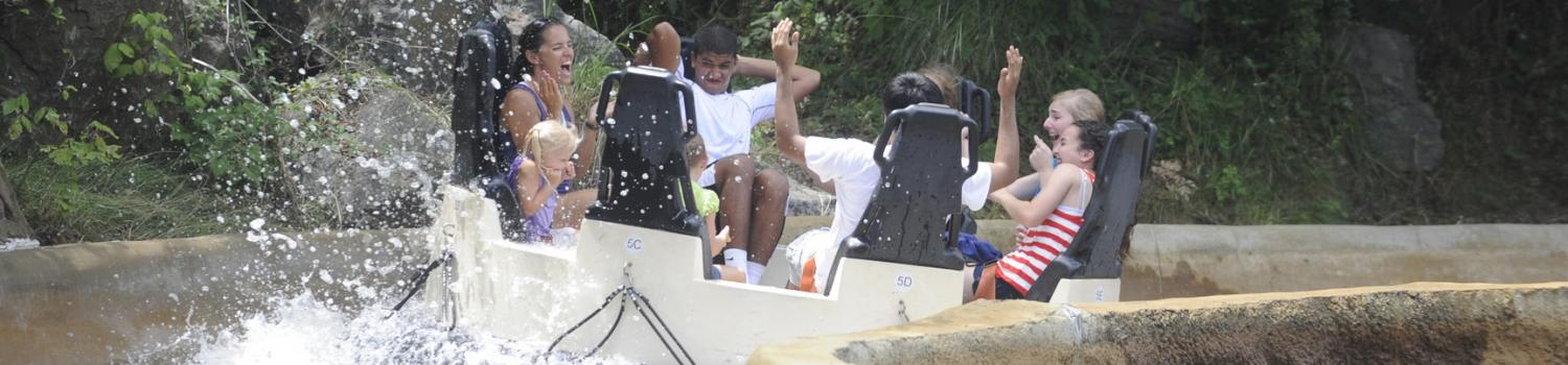 Raft of guests get splashed on Blizzard River at Six Flags New England