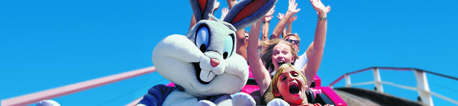 bugs bunny riding coaster with guest