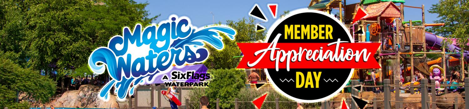 Magic Waters Logo with a Member Appreciate Day logo next to it