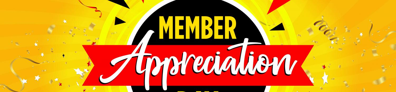 Membership Appreciation logo with yellow party background