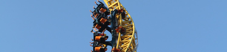 Vertical Velocity train twisting up corkscrew spire