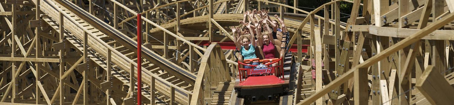 Guests on American Thunder as it coasts over a hill