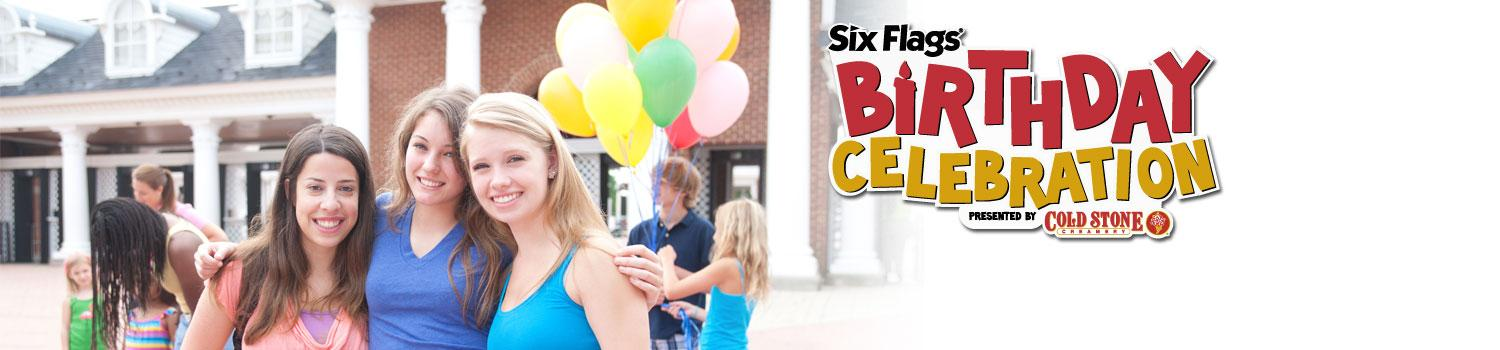 six flags birthday celebration banner with logo