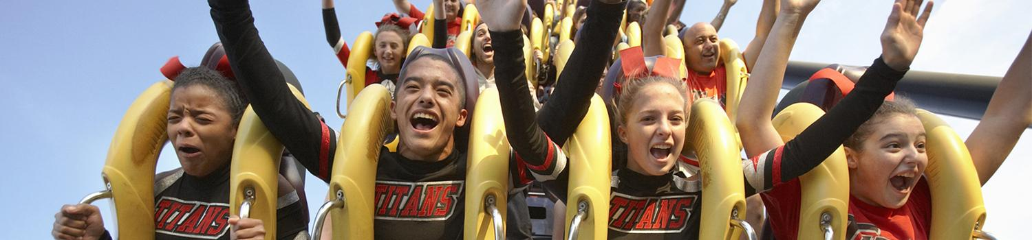 Cheer leading group on BATWING Coaster during Fall Cheer Extravaganza