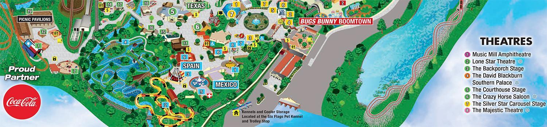 Park Map  Six Flags Over Texas