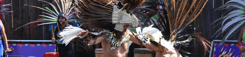 Aztec dancers dancing around