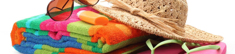 Beachwear - flip flops, suntan lotion, towel, bag