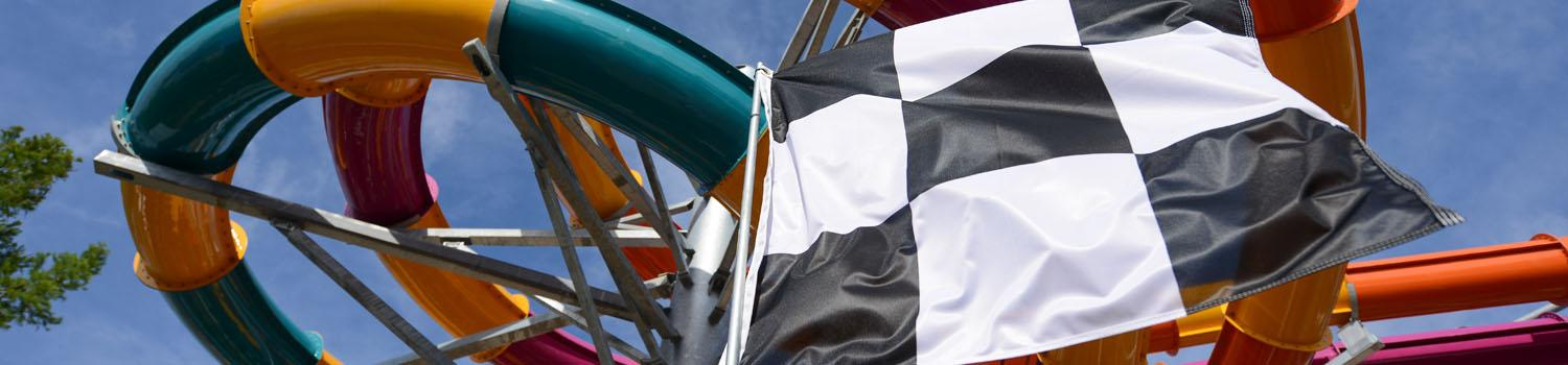 Photo looking up at Wahoo Racer with checkered flag