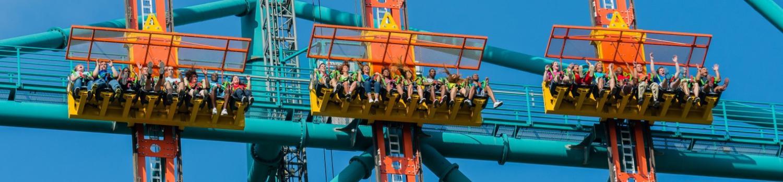 Three gondolas on Zumanjaro: Drop of Doom the worlds tallest drop ride at Six Flags Great Adventure