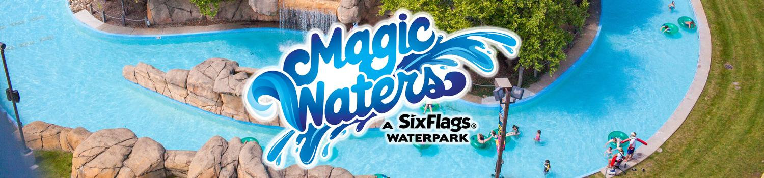 Magic Waters logo on aerial photo of Magic Waters