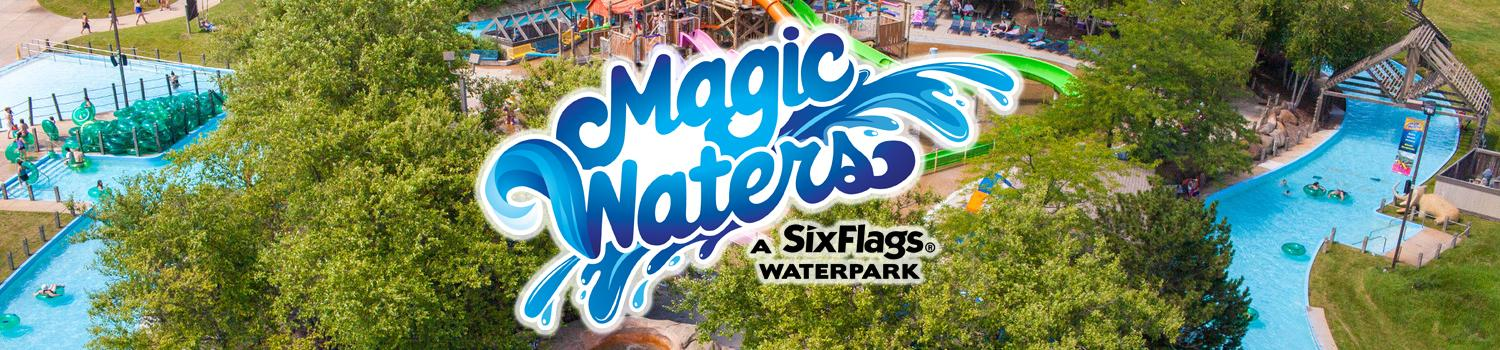Magic Waters logo with lazy river in the back ground