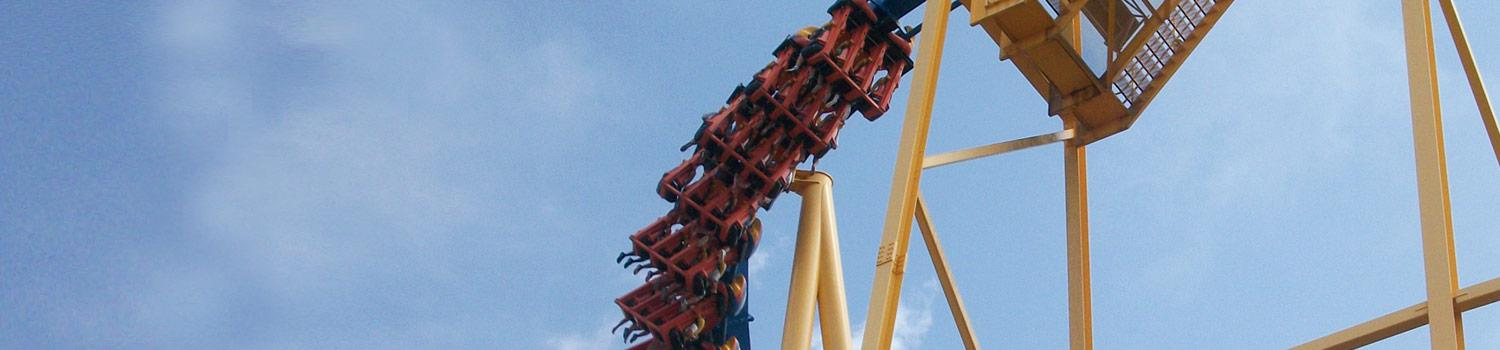 Goliath ride vehicle first drop with guests riding