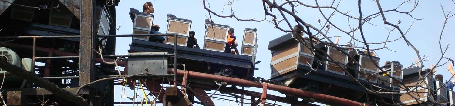 Guests riding the Runaway Mine Train
