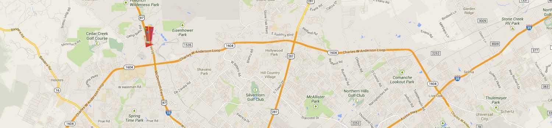 Six Flags Fiesta Texas on a map