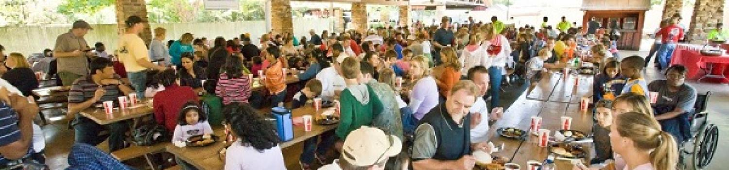 large group eating at the pavilion