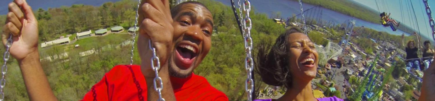 Couple enjoying their ride on New England SkyScreamer at Six Flags New England
