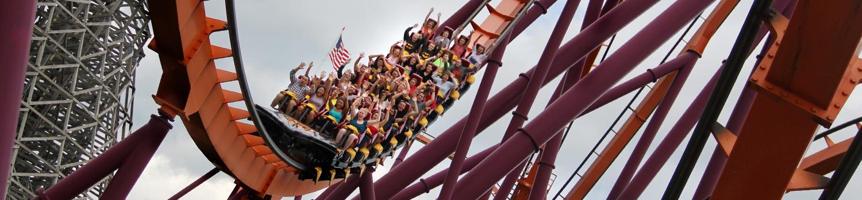 full roller coaster going down track