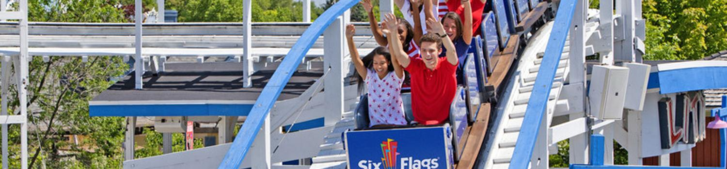 Teens on Little Dipper in red, white, and blue
