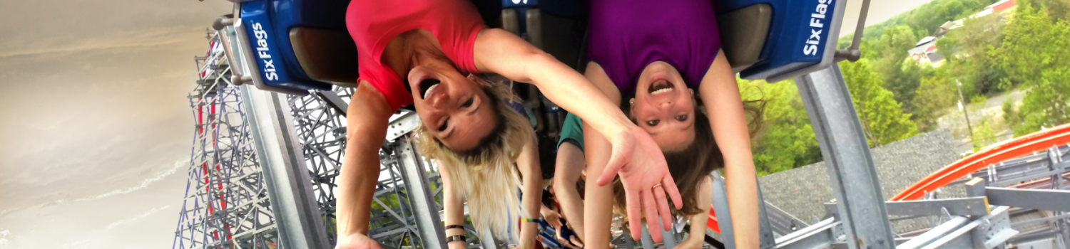 Guests flip upside-down on Wicked Cyclones 200 degree stall