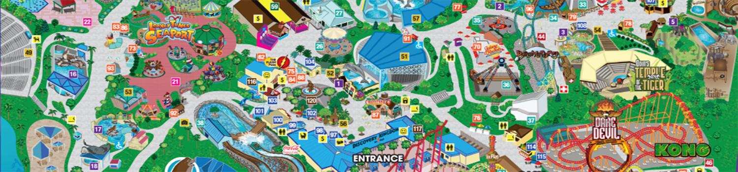 Six Flags Discovery Kingdom Park Map Close-up