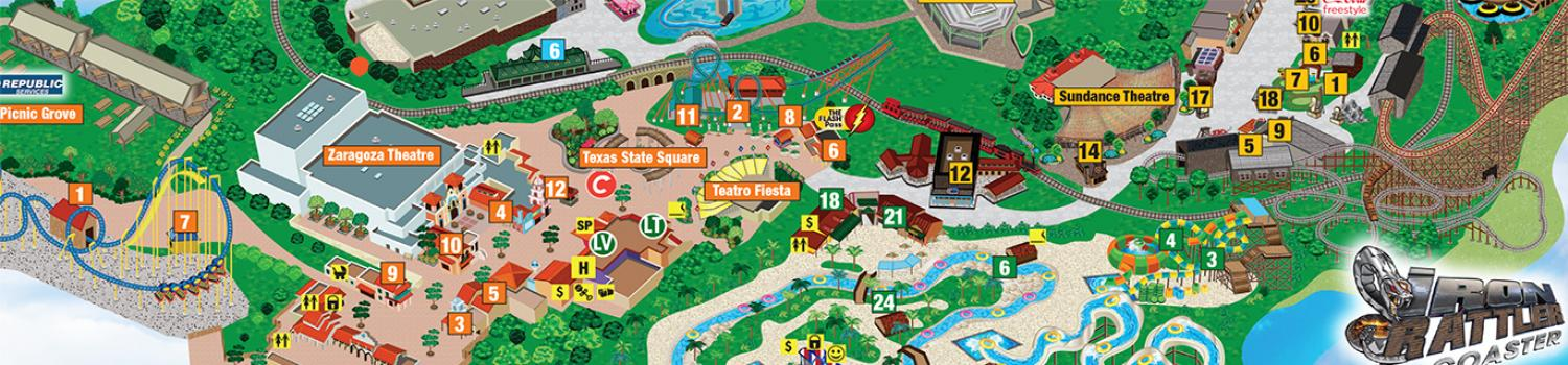 Fiesta Texas Water and Los Festivales Area Map