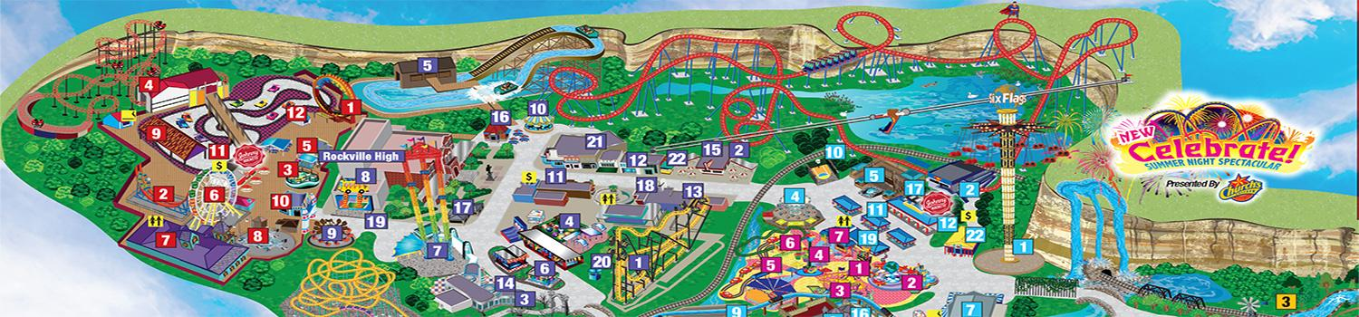 Fiesta Texas Dining, Shopping and Ride Listing