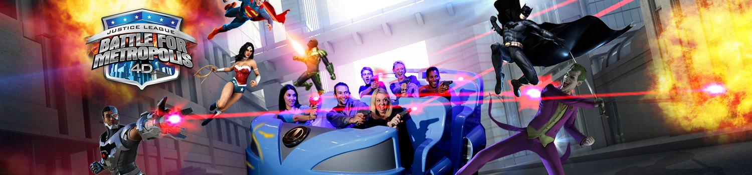 Family riding Justice League ride shooting lazers at The Joker and Lex Luthor