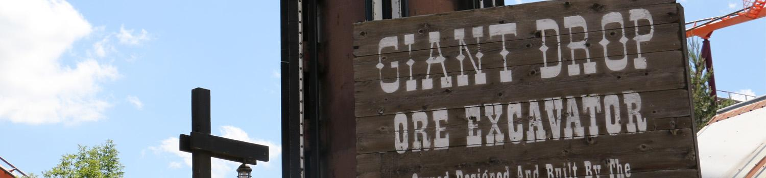 Giant Drop Ore Excavator rustic entry sign