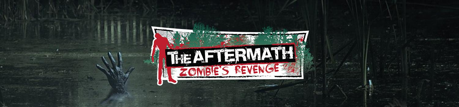 A hand rises from a murky swamp, behind The Aftermath: Zombies Revenge logo