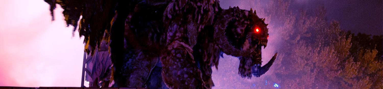 Terrifying, animatronic, winged-demon in a dense fog