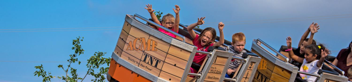 Young guests enjoy a ride on Canyon Blaster