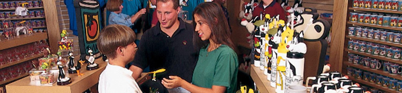 A family selecting souvenirs