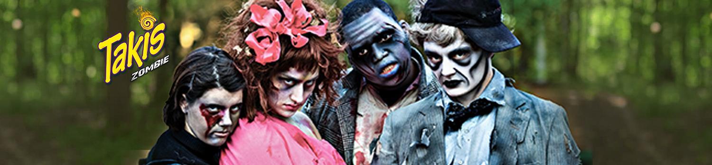 Zombies look menacingly at guests