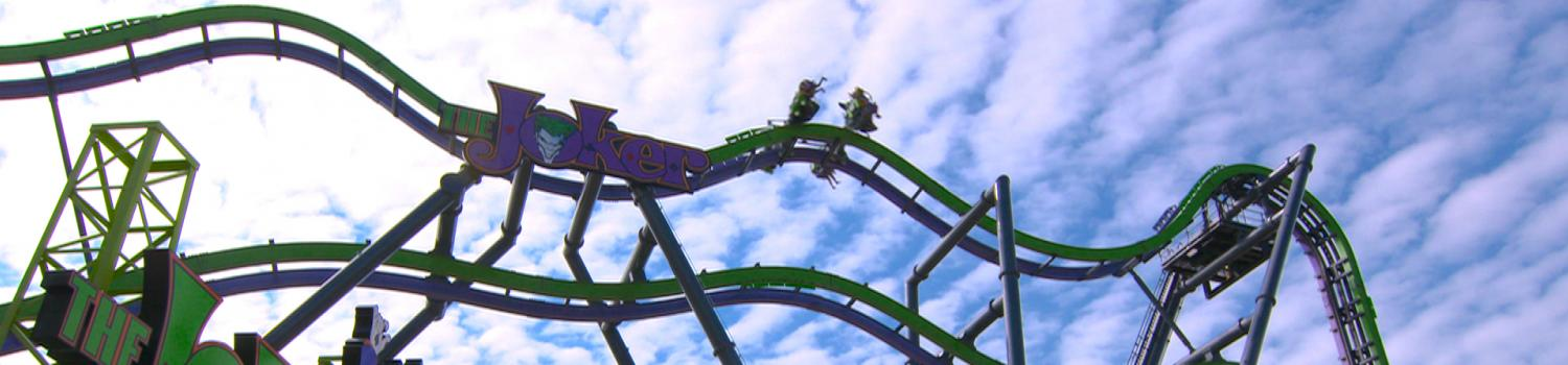 The JOKER roller coaster with car on top track